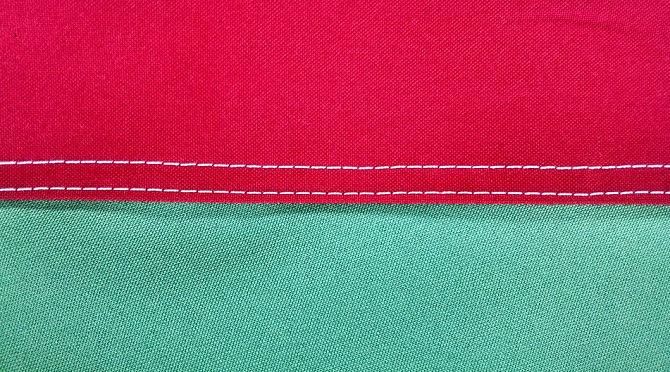 Flat-felled seams with 2 rows of lockstitches