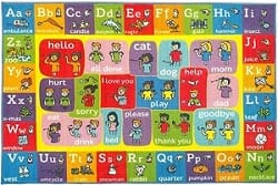 Playtime Collection alphabet and ASL learning area rug