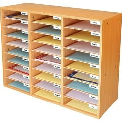 Oak Classroom Mail Center with 27 Slots